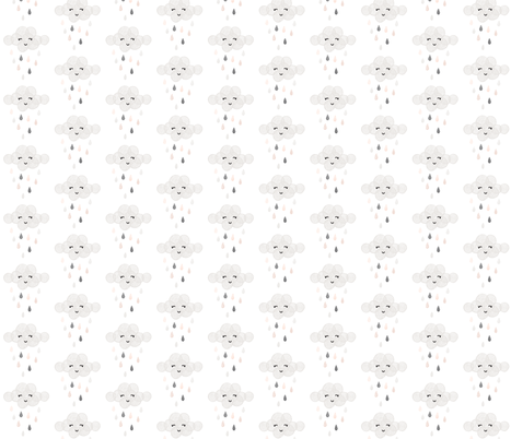 rainbow clouds // blush + gray fabric by ivieclothco on Spoonflower - custom fabric