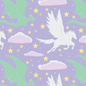 Pegasus and Dragon, Pink /Purple Sky