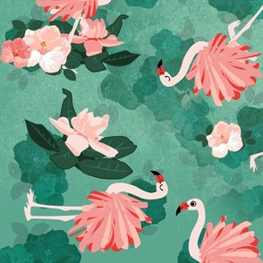Flamingos and Flowers - Large Print