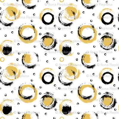 Black and Gold Brushed Circles on White