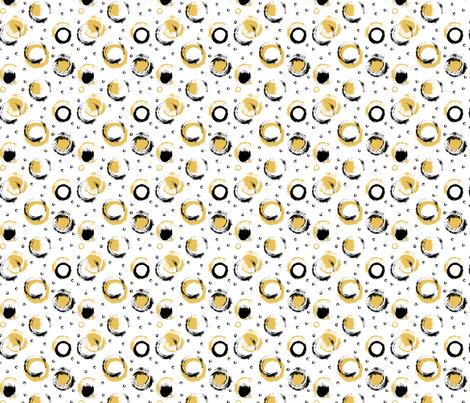 Black and Gold Brushed Circles on White fabric by ilonitta on Spoonflower - custom fabric