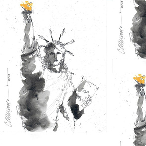 Statue Liberty Black Watercolor