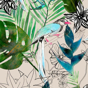emerald forest with birds