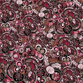 Pink Floral Doodles Ornament. Mandala ethnic design