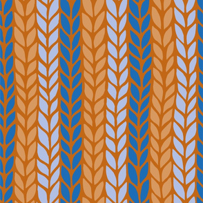 orange and blue vertical stripped knit pattern