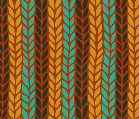 orange, brown and blue vertical stripped knit pattern fabric by klivenkova on Spoonflower - custom fabric