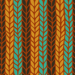orange, brown and blue vertical stripped knit pattern