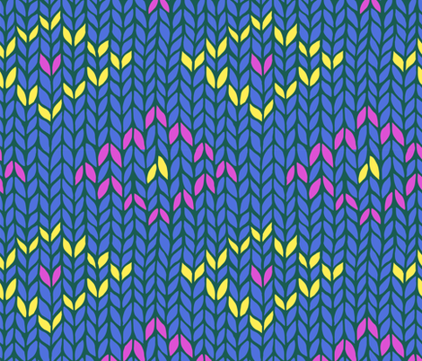 blue knit pattern with yellow and pink rhombuses fabric by klivenkova on Spoonflower - custom fabric
