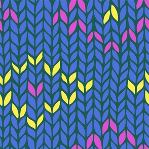 blue knit pattern with yellow and pink rhombuses