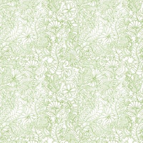 Green Magic Forest. Floral Outline Eco Tangles.