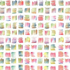 Multicolored Pastel Pencils Square Strokes in Abstract Rough Shapes.