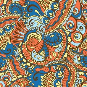 Ethnic Orange and Blue Tangle Abstract Doodles