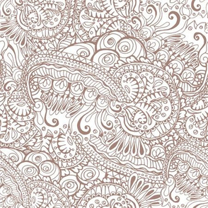 Brown Ornamental Tangles in Abstract Wavy Style