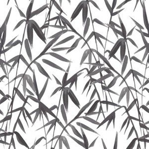 Black Japanese Bamboo Plant Silhouettes, brushed artwork