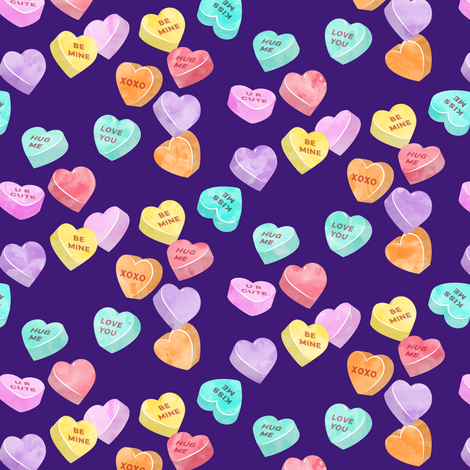valentines day heart candy - conversation hearts on dark purple fabric by littlearrowdesign on Spoonflower - custom fabric