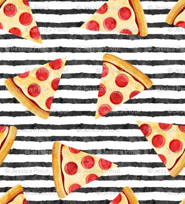 "(3/4"" scale) pizza slice (black stripes) food fabric C18BS"