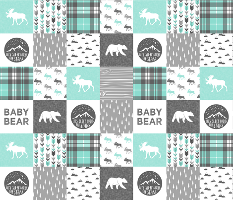 baby bear - woodland patchwork quilt top - light teal   fabric by littlearrowdesign on Spoonflower - custom fabric