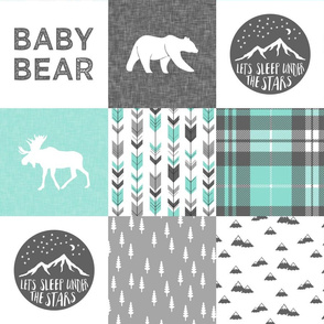 baby bear - woodland patchwork quilt top - light teal