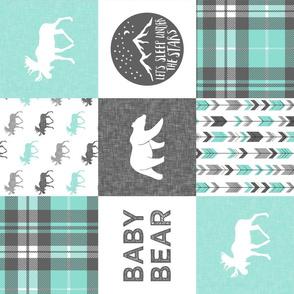 baby bear - woodland patchwork quilt top - light teal  (90)