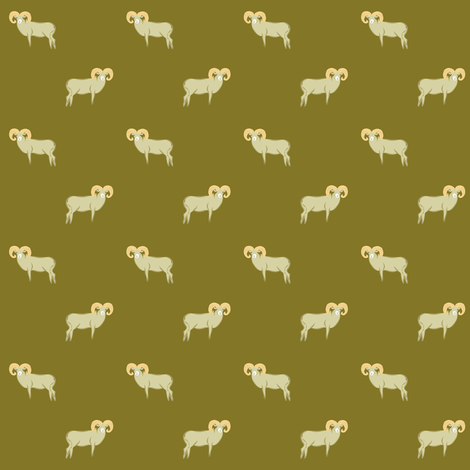 Big sheep on mustard fabric by jjdesignwithlove on Spoonflower - custom fabric