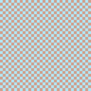 JP18 - Tiny Sky Blue and Rosy Peach  Checkerboard