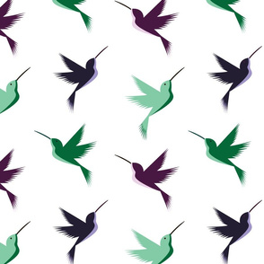 bright and busy hummingbirds (green_purple)