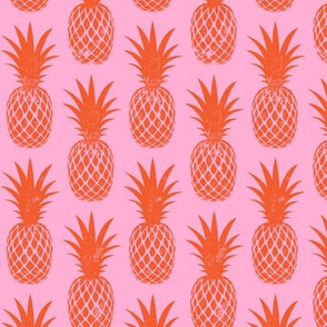 pineapples - red on pink