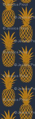 pineapples on dark blue
