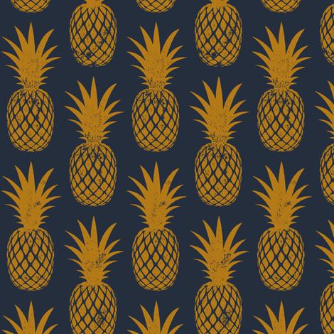 pineapples on dark blue fabric by littlearrowdesign on Spoonflower - custom fabric
