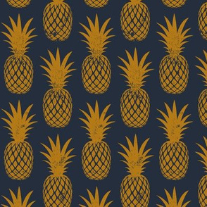 pineapples on dark blue