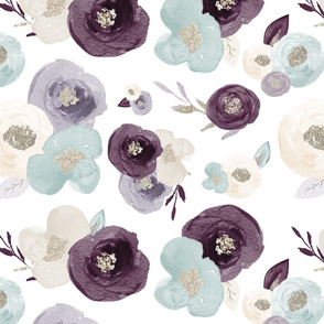 Purple, Teal & Silver Watercolor Floral - XL Scale