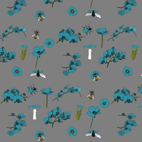 Poppy orchid meadow teal