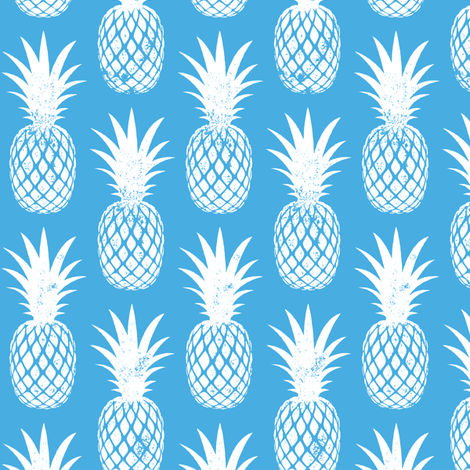 pineapples on blue fabric by littlearrowdesign on Spoonflower - custom fabric