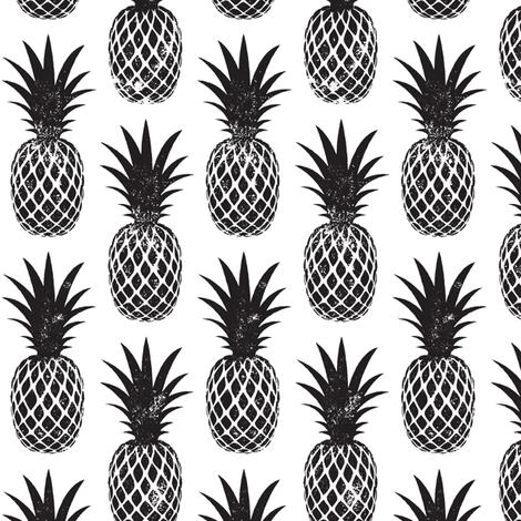 pineapples in black fabric by littlearrowdesign on Spoonflower - custom fabric