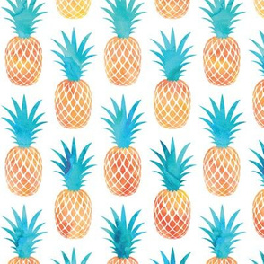 pineapples - orange and teal - watercolor