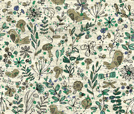 Emerald Forest Field Journal - Cream fabric by sarah_treu on Spoonflower - custom fabric