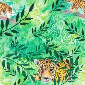 Jaguar in emerald leaves