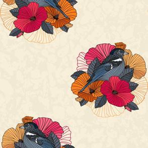 bird on a branch of sakura asia style