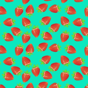 Strawberry Harvest Teal BG