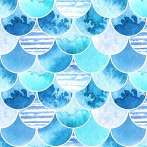 blue watercolor scales