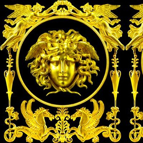 1 versace inspired medusa gold black angels wings wreath floral flowers vases Hippocampus hippocamp sea horses pegasus baroque victorian medallion leaves leaf gorgons Greek Greece mythology rococo heraldry ornate frames crest