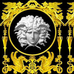 2 versace inspired medusa gold white angels wings wreath floral flowers vases Hippocampus hippocamp sea horses pegasus baroque victorian medallion black leaves leaf gorgons Greek Greece mythology rococo heraldry ornate frames crest