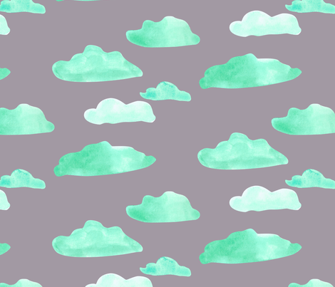 clouds on grey-01 fabric by stargazingseamstress on Spoonflower - custom fabric