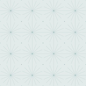 Nineteen Sixty Starburst: Watery Blue Green Geometric Pattern