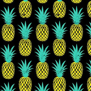 pineapples - teal and yellow on black