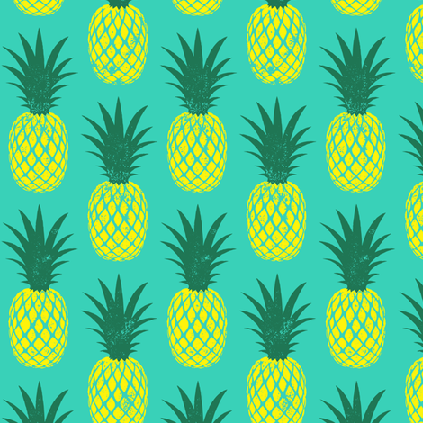 pineapples - yellow on teal fabric by littlearrowdesign on Spoonflower - custom fabric