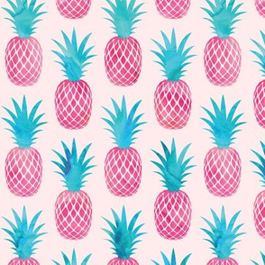 pineapples - watercolor pink on pink