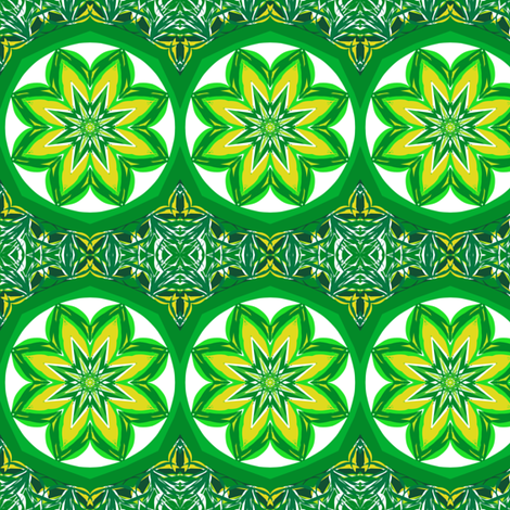 Emerald Treasures and Golden Glow Faery Flowers fabric by rhondadesigns on Spoonflower - custom fabric