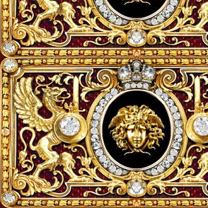 1 versace inspired medusa gold diamonds griffin gryphon flowers floral filigree leaves leaf crown medallions baroque victorian coat of arms swords rococo flourish swirls heraldry ornate frames crest acanthus gorgons wings Greek Greece mythology  jewels ge