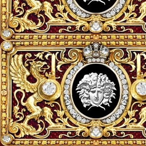 2 versace inspired medusa gold white diamonds griffin gryphon flowers floral filigree leaves leaf crown medallions baroque victorian coat of arms swords rococo flourish swirls heraldry ornate frames crest acanthus gorgons wings Greek Greece mythology jewe
